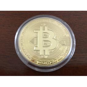 Moeda Física Comemorativa Bitcoin - Banhada A Ouro