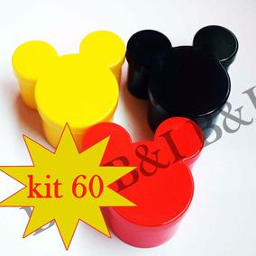 60 Caixinhas Acrílica Mickey Ou Minnie 7x7x4cm Lançamento