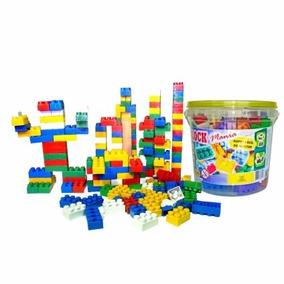 Balde De Blocos De Montar Com 104 Peças Brinquedo Educativo
