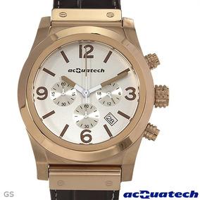 Reloj Acquatech Italiano En Acero Y Piel, Cronógrafo
