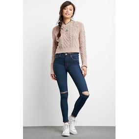 Jeans Pantalon Rasgado Color Indigo Forever 21 Original