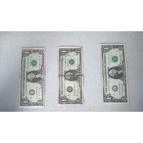 Dólares Americanos Sendo 1 De 1988 E 2 De 2006 Selo Verde.