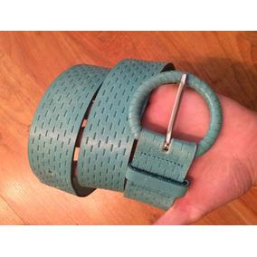 Lindo Cinturon Piel Fina Suave Azul Turquesa 100% Original!!