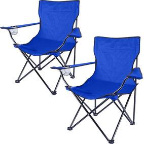 Kit X 2 Cadeiras Dobrável Camping Azul Base Metal + Sacola