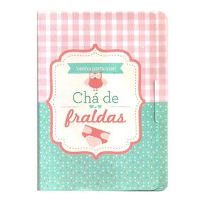50 Convites De Chá De Fraldas (bebê) - Menina - Ref. 306