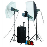 Kit 3 Flash Estudio 300w Visico Y Accesorios