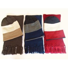 Conjunto Cachecol Com Gorro Color Masculino / Feminino De Lã
