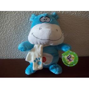 Hipopótamo De Pelúcia Azul Com Cachecol Que Fala Te Amo!