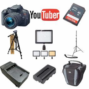 Kit Youtuber Canon T6i 32gb + Tripe Led 160 Bat Carregador
