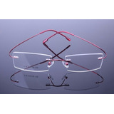 Armação Discreta Vermelha Invisível Óculos Grau Titanium 406 b4f6bdc02a