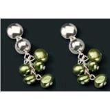 9963f6b4893f Remato Aretes Finart Baño Plata Brillante Perlas Verdes