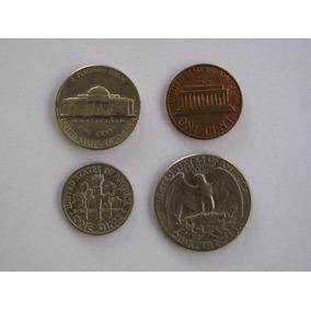Moedas 1, 5, 10 E 25 Centavos De Dolar - Frete Grátis