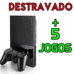 Playstation 2 Slim Destravado 1 Controle + 5 Jogos C/ Caixa