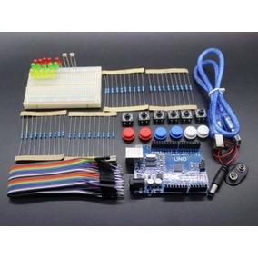 Kit Arduino Uno + Protoboard + Jumpers + Leds + Botões Etc