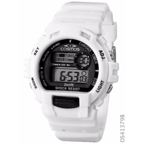 Relógio Esportivo Cosmos Digital Os41379b Branco Cronógrafo