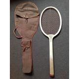 Raqueta De Tenis Antigua Nueva Con Forro Años 40 Exelente