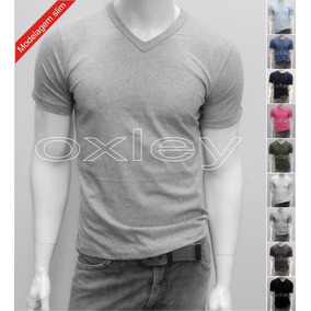 Kit 5 Camisetas Gola V Lisa Slim Masculina 100%algodão Oxley