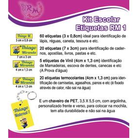 Etiqueta Personalizada - Kit Escolar Rm1 + 3 Chaveiros