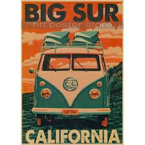 Poster Kombi Hippie California Retro + Fita Para Fixação