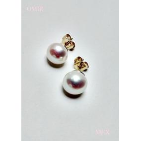 Aretes Oro 14k Solido Con Perlas Blancas 9mm