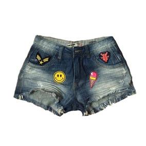 Short Jeans Feminino Patches Blogueira Customizado
