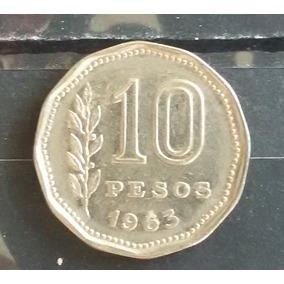 M 0011 Moeda Antiga Argentina 10 Pesos 1963