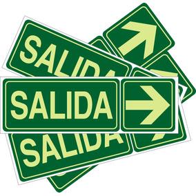 Cartel Salida Fotoluminicente 14 X 41 Cnt Pack De 2 Unid $