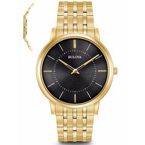 5d45b6f0386 Relógio Bulova Masculino Slim Wb22436u Dourado Lançamento