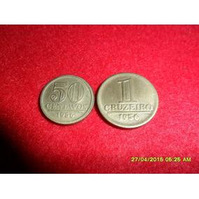 Moedas Brasileiras Cr$ 1,00 E 0,50 Cent Em Bz Al - 1956