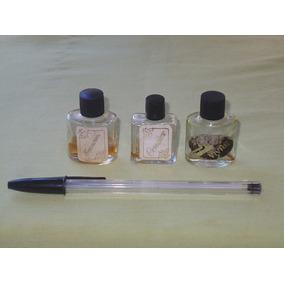 Antigo 3 Vidros Perfume Usados Vazios Ou Parcial 4.3 Centim