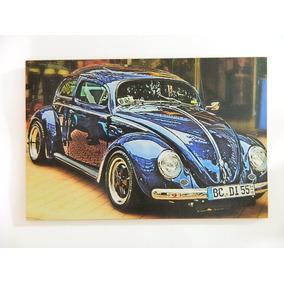Placa Decorativa Mdf Retrô Vintage - Vw Fusca Azul