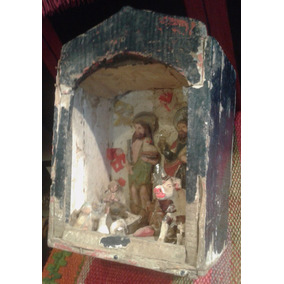 Antiguo Retablo Caja Madera Artesania Popular San Juan Jesus