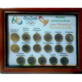 Coleção Completa Das Moedas Olímpicas Rio 2016 Na Moldura