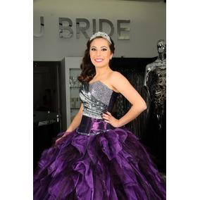 Vestidos de 15 violeta y negro