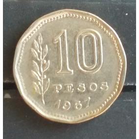M 0014 Moeda Antiga Argentina 10 Pesos 1967