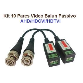 Kit 10 Pares Video Balun Cftv Ahd Analogico Passivo Bnc