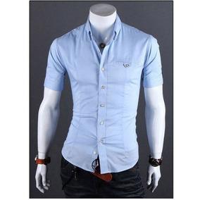 Camisa Social Slim Fit 100% Algodão Manga Curta Mod Cx03