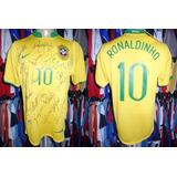 Brasil 2006 Camisa Titular Autografada M # 10 Ronaldinho.