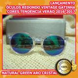 94010b052f71f Óculos De Sol Feminino Vintage Redondo Gatinha Verão 2016