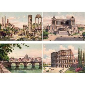 Cartão Postal Roma Antiga Anos 40 Lote 3 Com 4 Unidades Novo