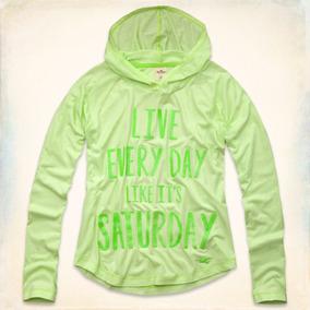 Camiseta Com Capuz Hollister Feminina Verde Claro Original M b0f0b4099e7