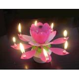 Vela Flor Giratoria Musical Ideal Para Cumpleaños