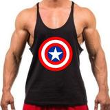 Camiseta Regata Super Cavada Capitão América P/ Musculação