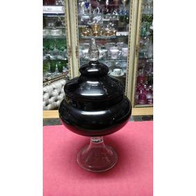Compoteira Antiga De Vidro Negro