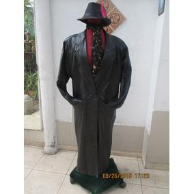 Abrigo De Cuero Color Negro De Mujer Talla S