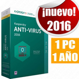 Licencia Kaspersky Antivirus 2016 1 Pc 1 Año Original