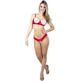Conjunto Lingerie Renda Sensual Vermelho E Branco Tamanho P