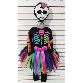 Disfraz Calaca Tutu Muerte Multicolor Esqueleto Niña Hallowe