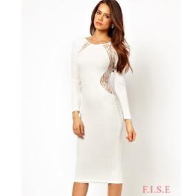 Vestido Branco Colado Manga Comprida Detalhe Em Renda
