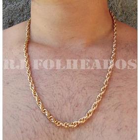 Corrente Cordão Corda Baiana 5mm Banho Folheado Ouro 18k - Joias e ... c9128bf452